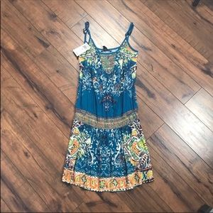 💥NWT Lucky boho drop waist strappy blue dress